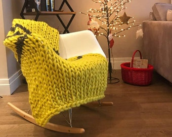 chunky blanket wool blanket 100 merino wool king size knit. Black Bedroom Furniture Sets. Home Design Ideas