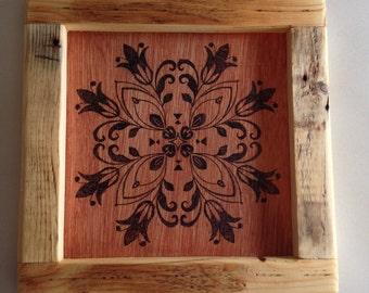 Handmade wood burning/ pyrography. Wood burned floral mandala and reclaimed palletwood frame wall hanging artwork.