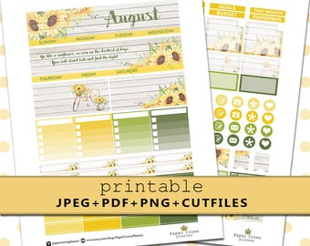 2017 AUGUST Monthly Kit/PRINTABLE Planner Stickers/Planner Stickers for use with Erin Condren Planner/Monthly Planner Sticker Kit/Silhouette