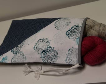 drawsting bag for knitting, link of tightening, printed by hand, knitting bag