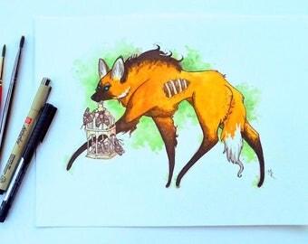 Maned Wolf and Moths, Original Artwork, Watercolor 9x12