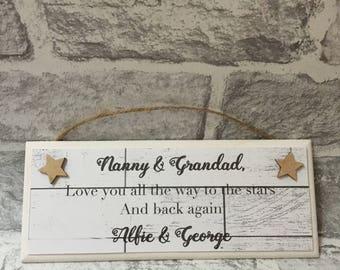 Handmade Plaque Nanny & Grandad gift