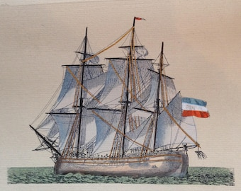 Intaglio-Etching-Italian Copper-Hand-Colored-Aquatint-Etching-Engraving-Highlighted in Gold-Italian Galleon-Early 20th C