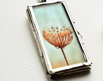 flower necklace floral necklace botanical jewelry flower pendant blue necklace terrarium flower necklace glass pendant flower jewelry