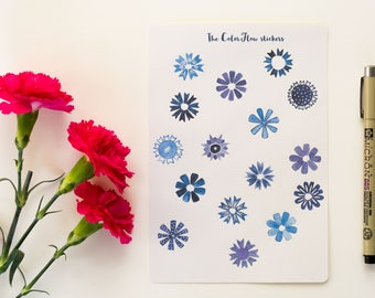 blue flower stickers watercolor flower stickers floral stickers handdrawn stickers botanical stickers decorative journal stickers      ST015