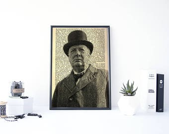 Winston Churchill, History Poster, Historic Documents, World War 2, ww2 Poster, History Gift, Great Britain, Black and White Photography