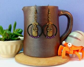 Small hoop earrings pineapple and pink beads