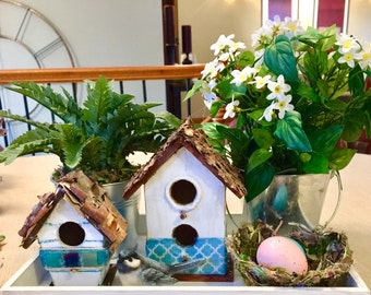 2 Small Birdhouse Centerpiece Spring Handmade Bird Easter Gift Mother's Day Tabletop Decor Desktop Farmhouse Decor Gift Michelle Dornstreich