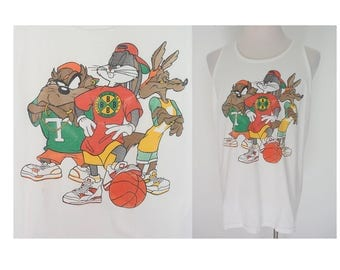 Vintage 90's Bugs Bunny Taz cross colours white basketball hip hop tank