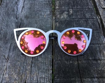 NEW! Metal Cat Eye Embellished Costume Round Sunglasses