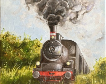 "Oil Steam Train Painting - Print titled, ""Smokey Fields"", Train Painting, Steam, Smoky, Oil Painting"
