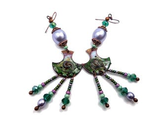 Earrings creator candlesticks copper enamel purple and green glass beads