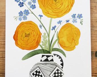 Original Watercolour, 'Ranunculi, Forget-Me-Nots'
