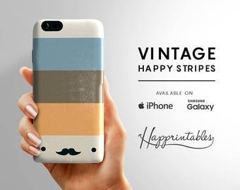 Phone case Happy Moustache Vintage Stripes, iPhone 7, iPhone SE, iPhone Plus, iPhone 6, iPhone 5/5S, iPhone 5C, Samsung Galaxy S5, S6 Edge