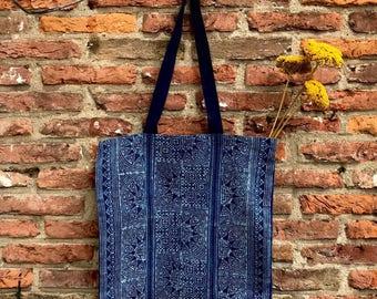 Hmong Indigo Batik Tote bag Ethnic Handbag Bohemian Waxprint
