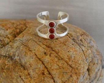 Red Triple Carnelian Sterling Silver Ring