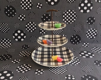 Homer Highland~Homer Laughlin~Highland Plaid~Black and White~Three Tier Serving Tray~Dura-Print~Mid-Century~Vintage