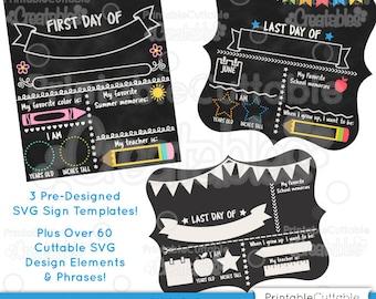 First Day of School Chalkboard Sign SVG Cut File Kit D008 - 3 Pre-Designed SVG Templates + Over 60 SVG Designs! Limited Commercial Use!