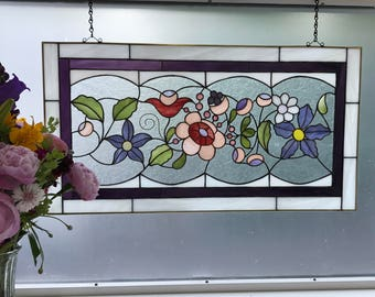 """Stain Glass Window or Wall Panel, Hungarian Flowers - Pink, Red, Green, Purple, and White - OOAK 13 7/8"""" x 25 1/4"""""""