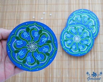 Blue coasters set of 4 Flower pattern New home gift for women Gift for sister Table decor Hand painted Blue gift for hostess Drinks coasters