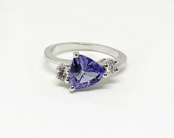 14k White Gold Natural Tanzanite (2.80 ct) Natural Diamond Ring, Appraised 4,318 USD