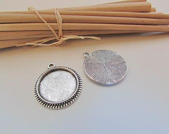 10 pendants round cabochon of 1.6 cm, 2 cm silver metal support