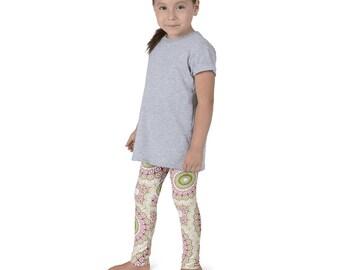 Kids Leggings, Cute Green and Pink Leggings for Girls, Children's Printed Yoga Pants