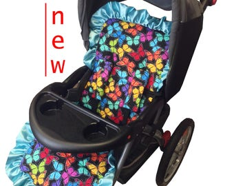 Butterflies Stroller Liner-Reversible to Black Minky