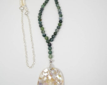 3 Piece Moss Agate & Pearl Jewelry Set