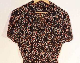 1940s day dress// Full length swing summer Autumn black orange floral rockabilly pin up short sleeve// Women's size M medium 6 8 10 USA