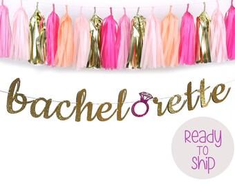Bachelorette Cursive Glitter Banner with Glitter Ring - Bachelorette Party Decor, Last Fling Before the Ring, Hen Party Banner, Ring Decor