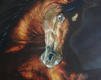 Fury. Realistic acrylic painting on cotton canvas with wooden frame. Theme: Horse. Decorative and high quality. Art.