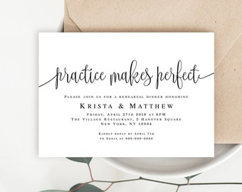 Practice makes perfect Wedding rehearsal dinner template Wedding dinner invitation Simple rehearsal invite template Rehearsal dinner #vm41