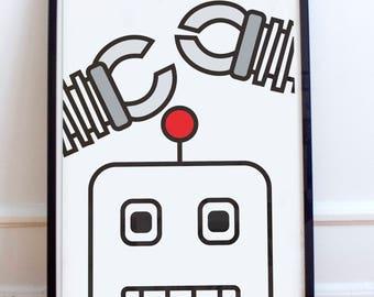 Minimalist Robot - Scandinavian style poster Print - geek, robot, boys room, nursery, spaceship, sci fi,rocket ship, android