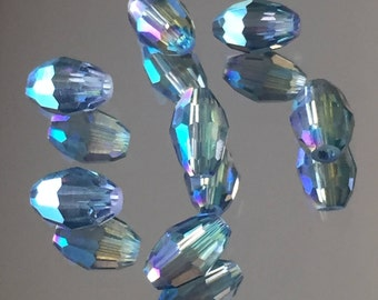Green/Blue Iridescent Spacer Beads - Shimmering Glass Oval Beads 6x4mm - Package of 25 (#498)
