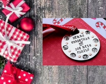 Handstamped Ornament, Personalized, Christmas Ornaments, Silver Ornament, Round Ornament, Custom Ornaments, Tree decor, Holiday decor