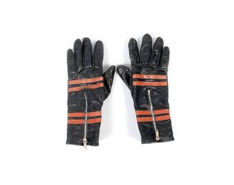Vintage Motorcycle Gloves - Harley Davidson Gloves - 60s Harley Davidson Gloves - Black Leather Motorcycle Gloves - 60s Leather Gloves