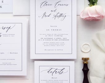 Clare Frame Wedding Invitation Sets, Modern and Elegant Calligraphy Wedding Invitations, Printable Wedding Invitations or Printed Sets