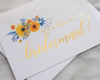 Bridesmaid Card // Bridesmaid Proposal Card // Will You Be My Bridesmaid Card // Maid of Honor // Gold Foil // Will You Be My Flower Girl