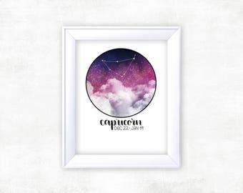Zodiac Capricorn Constellation   Capricorn Zodiac   Space Art   Constellation Art   Capricorn Gift   Space Decor   Capricorn Star Sign