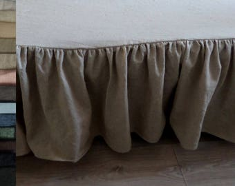 Linen bedskirt Linen grey Dust Ruffle Bed Skirt,white bed skirts,blue bedskirt shabby chic bedding linen bedding eco bedding Queen bedskirt