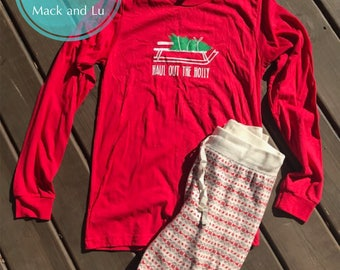 Haul Out the Holly Long Sleeve T-Shirt, Christmas Holiday Shirt