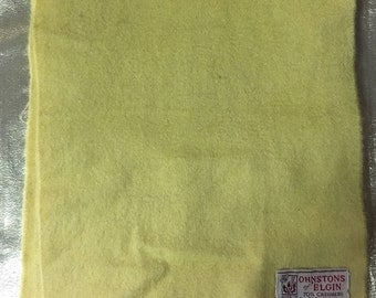 1960's Cashmere and Wool Yellow Scarf Made by Johnston's of Elgin Made in Scotland