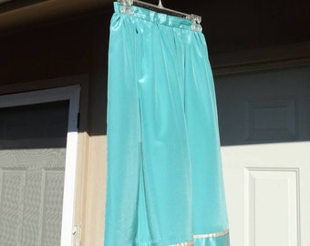 Teal Blue Skirt / Cream Trim