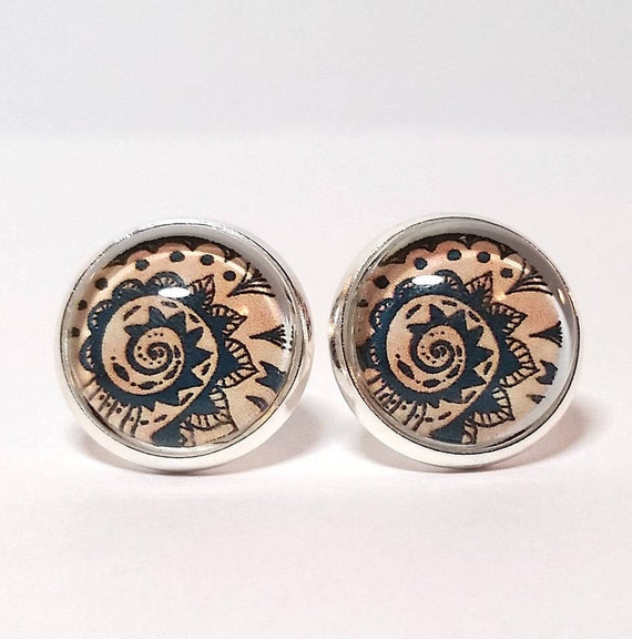 WHOLESALE-Nautical Bandana Earrings, Available in silver, bronze or rose gold, Stud or French Wire