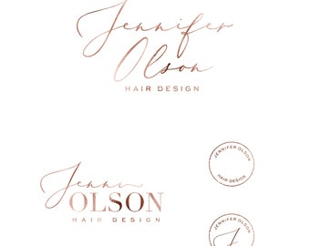 Rose gold logo photography - beauty logo design - premade logo package - branding kit - boutique logo set - feminine logo design