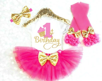Smash Cake Outfit Girl Cake Smash Outfit Pink and Gold First Birthday Outfit Girl Cupcake Birthday Outfit Baby Girl Birthday Outfits 28