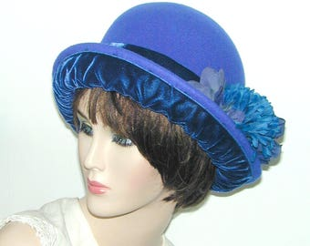 Convertible 4-way handmade wool and velvet bowler cloche - Miss Fisher, Downton Abbey, Gatsby hat