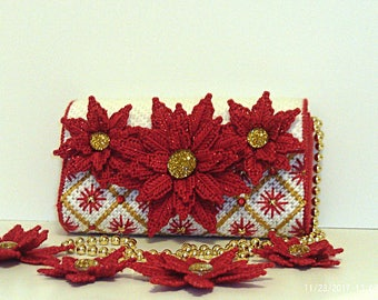 Red and white Poinsettia clutch/evening bag