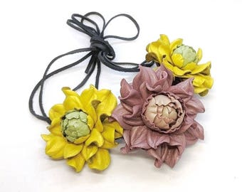 Statement GENUINE LEATHER old rose & green yellow roses bib necklace collar, trendy real leather flower choker, floral rose collar necklace